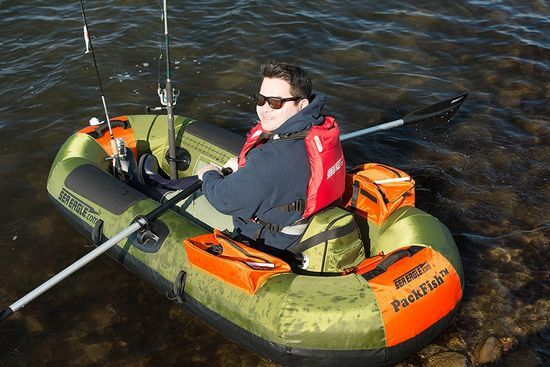 small inflatable fishing boat